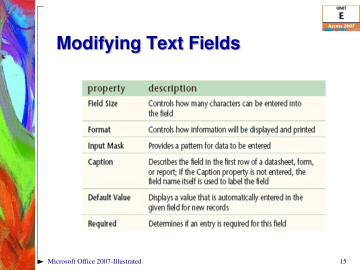 Modifying Text Fields