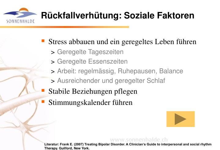 Rückfallverhütung: Soziale Faktoren