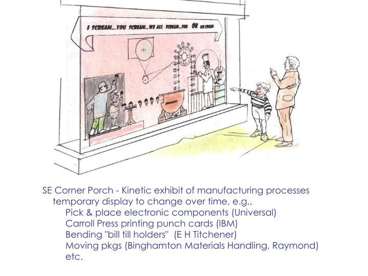 SE Corner Porch - Kinetic exhibit of manufacturing processes