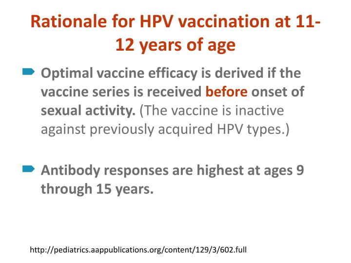 Rationale for HPV vaccination at 11-12 years of age