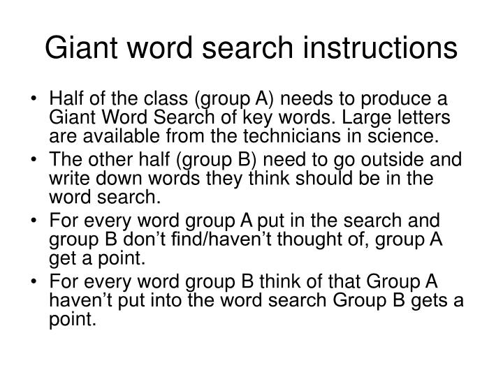 Giant word search instructions