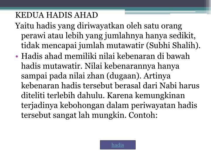 KEDUA HADIS AHAD