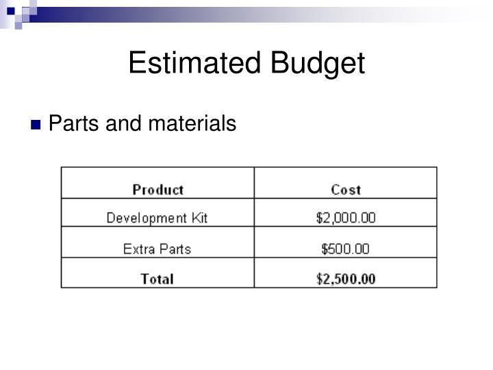 Estimated Budget
