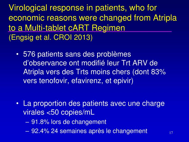 Virological response in patients, who for economic reasons were changed from Atripla to a Multi-tablet cART Regimen