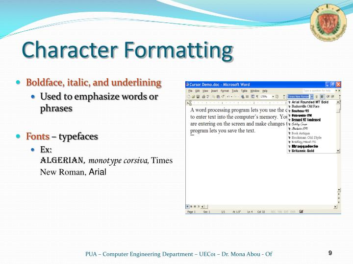 Character Formatting