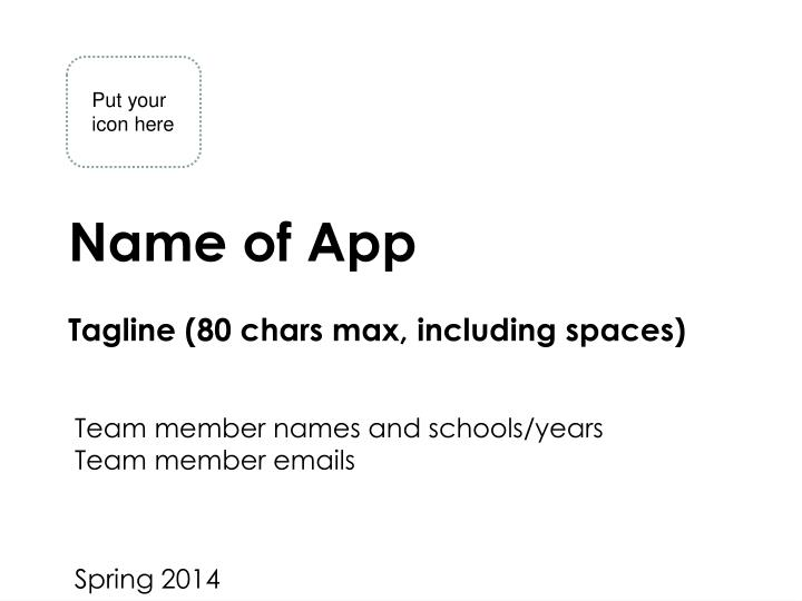 Name of app tagline 80 chars max including spaces