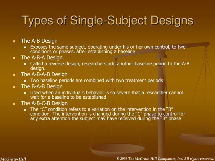 single subject designs Research questions in single-subject research this document presents information about how to determine whether a research question is appropriate for single-subject research methods and.