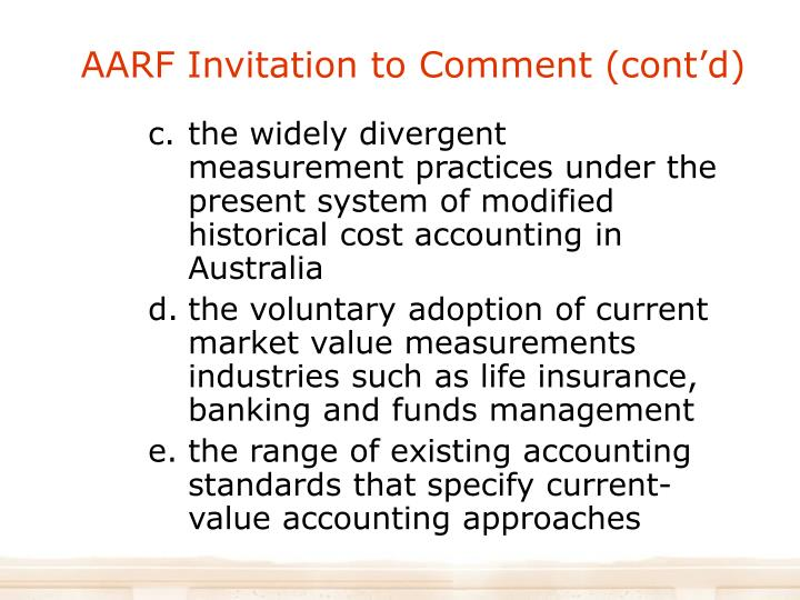 AARF Invitation to Comment (cont'd)