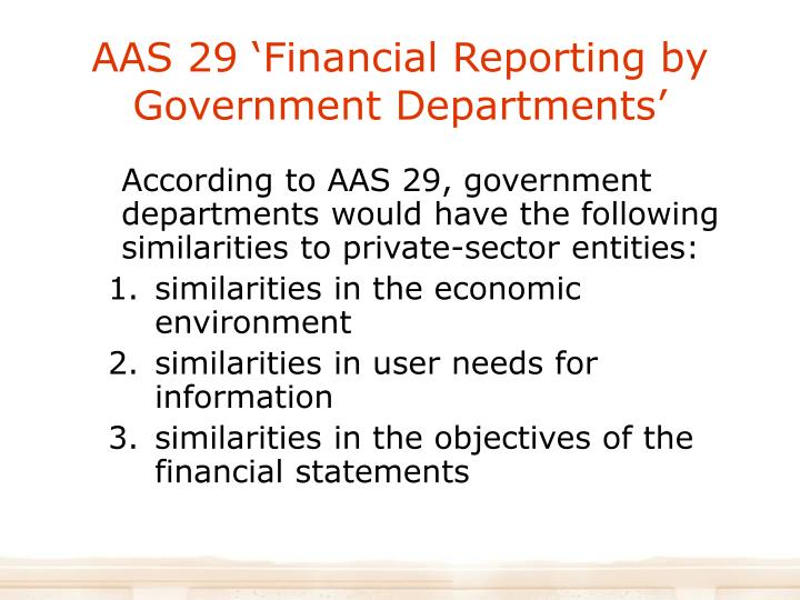 AAS 29 'Financial Reporting by Government Departments'