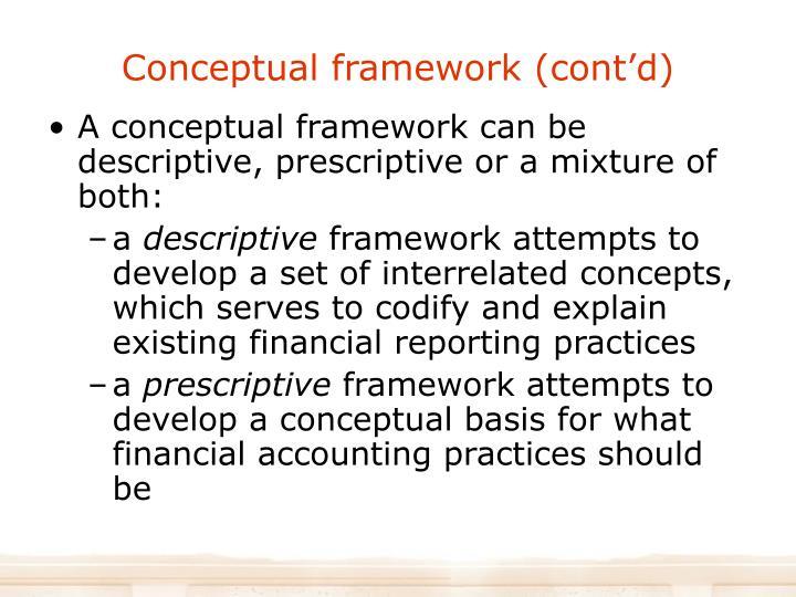 Conceptual framework (cont'd)