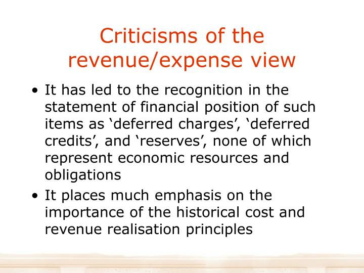 Criticisms of the revenue/expense view