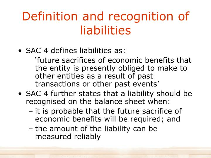 Definition and recognition of liabilities