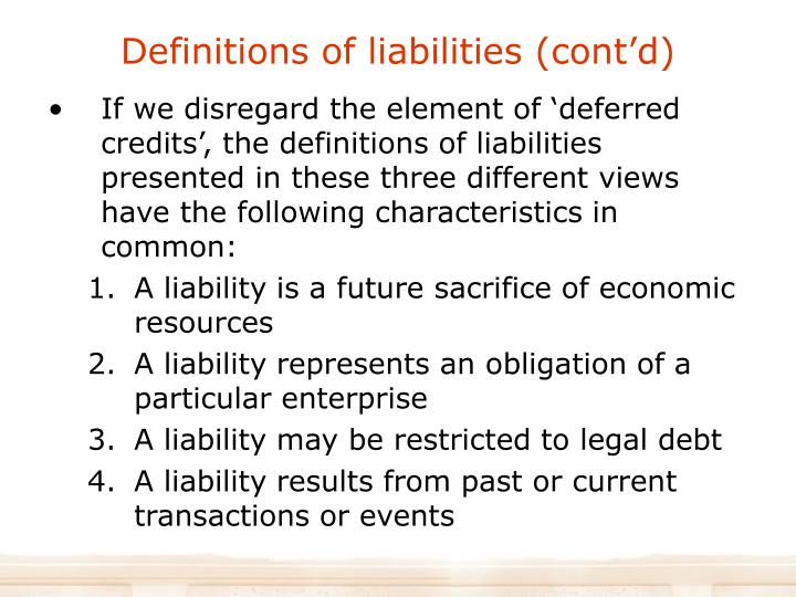 Definitions of liabilities (cont'd)