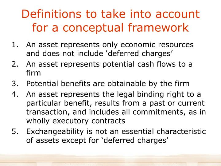 Definitions to take into account for a conceptual framework
