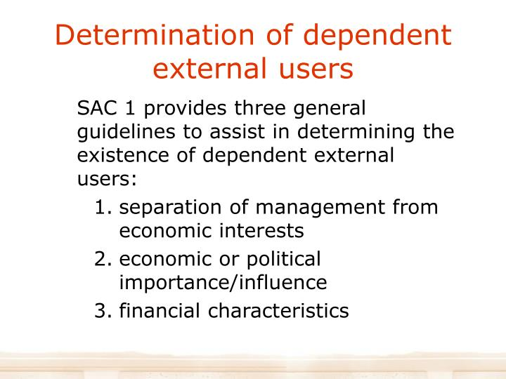 Determination of dependent external users