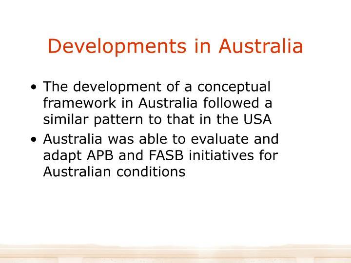 Developments in Australia