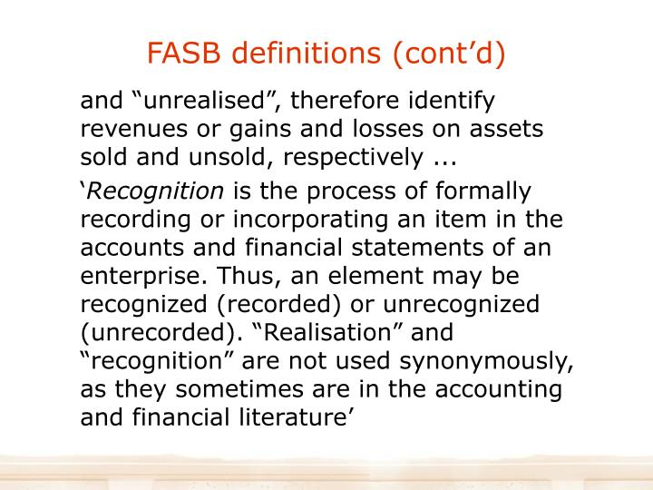 FASB definitions (cont'd)