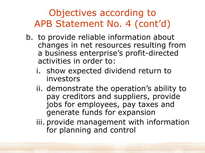 Objectives according to