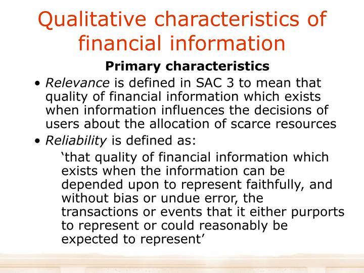 Qualitative characteristics of financial information