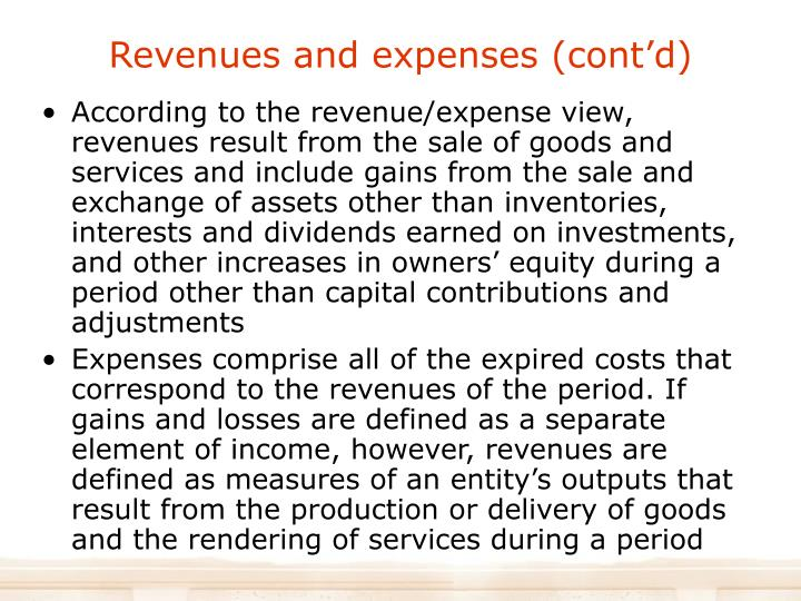 Revenues and expenses (cont'd)