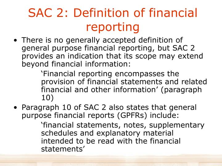 SAC 2: Definition of financial reporting