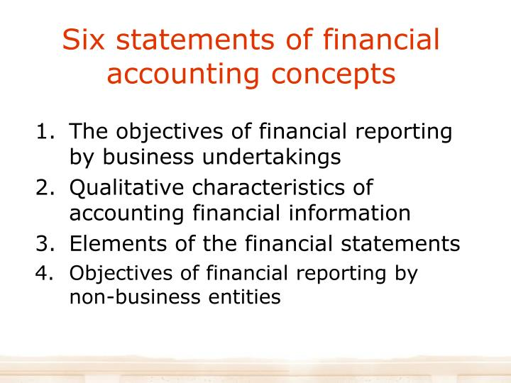 Six statements of financial accounting concepts