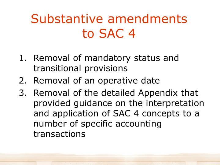 Substantive amendments