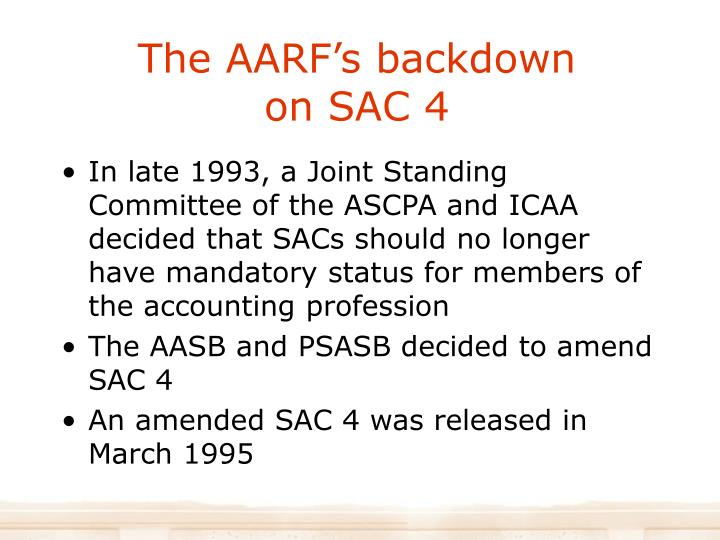 The AARF's backdown