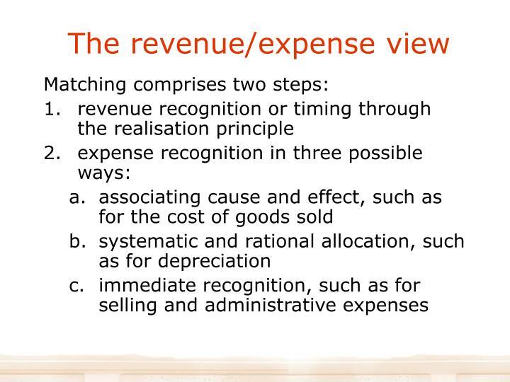 The revenue/expense view