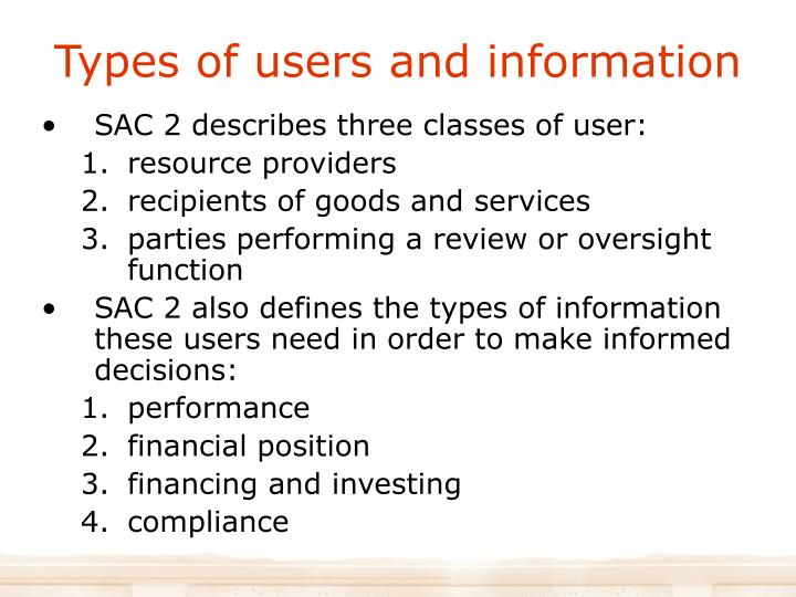 Types of users and information