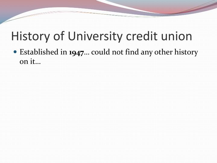 History of university credit union