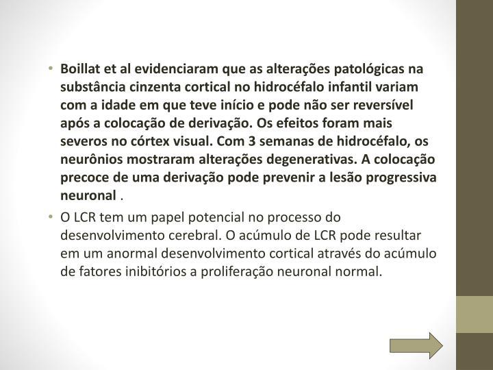 Boillat et al evidenciaram que as alterações patológicas na substância cinzenta cortical no hidrocéfalo infantil variam com a idade em que teve início e pode não ser reversível após a colocação de derivação. Os efeitos foram mais severos no córtex visual. Com 3 semanas de hidrocéfalo, os neurônios mostraram alterações degenerativas. A colocação precoce de uma derivação pode prevenir a lesão progressiva neuronal