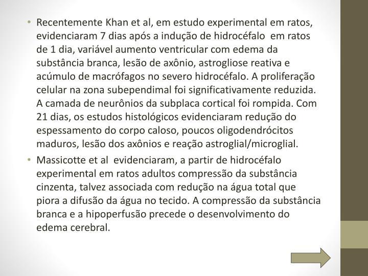 Recentemente Khan et al, em estudo experimental em ratos, evidenciaram 7 dias após a indução de hidrocéfalo  em ratos de 1 dia, variável aumento ventricular com edema da substância branca, lesão de axônio, astrogliose reativa e acúmulo de macrófagos no severo hidrocéfalo. A proliferação celular na zona subependimal foi significativamente reduzida. A camada de neurônios da subplaca cortical foi rompida. Com 21 dias, os estudos histológicos evidenciaram redução do espessamento do corpo caloso, poucos oligodendrócitos maduros, lesão dos axônios e reação astroglial/microglial.