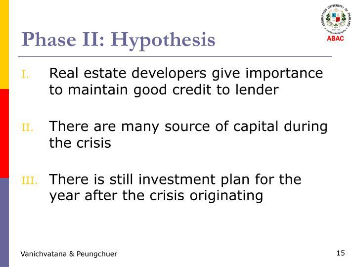 Phase II: Hypothesis
