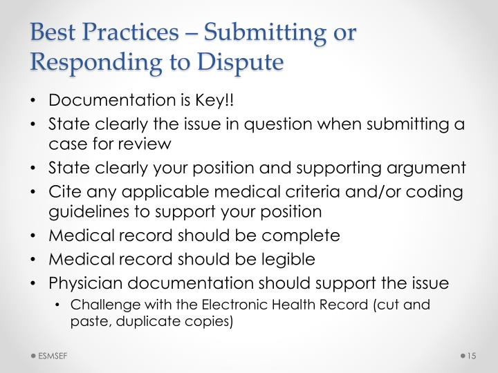 Best Practices – Submitting or Responding to Dispute