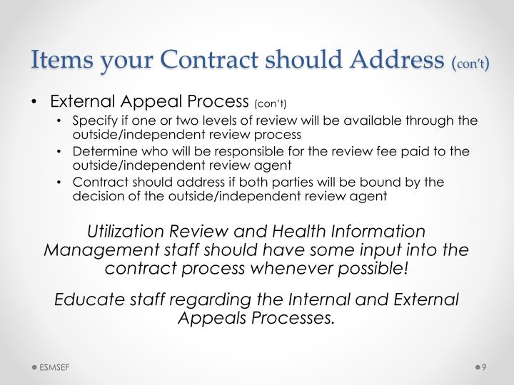 Items your Contract should Address
