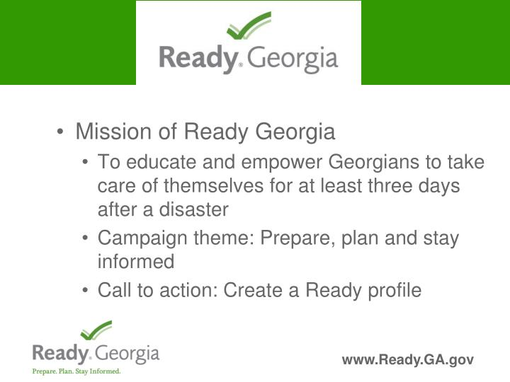 Mission of Ready Georgia