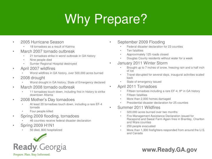 Why Prepare?