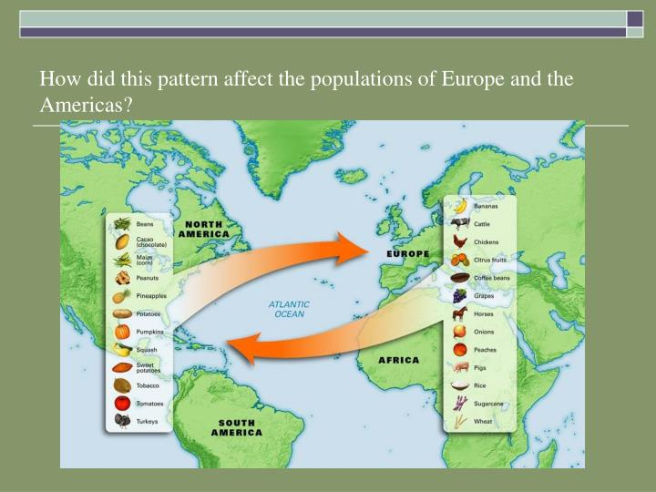 How did this pattern affect the populations of Europe and the Americas?