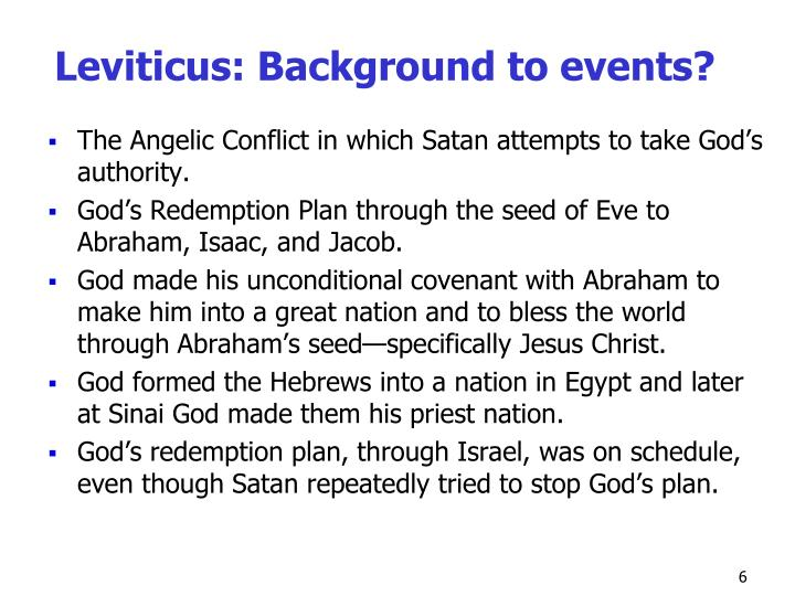 Leviticus: Background to events?