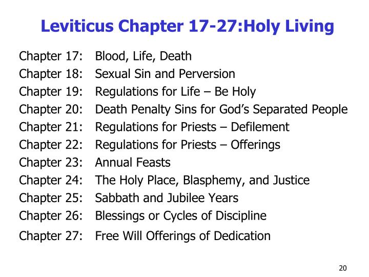Leviticus Chapter 17-27:Holy Living