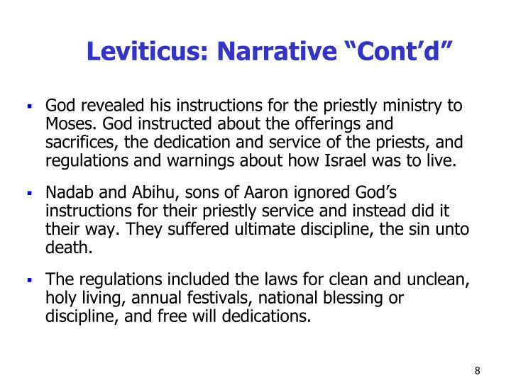 """Leviticus: Narrative """"Cont'd"""""""