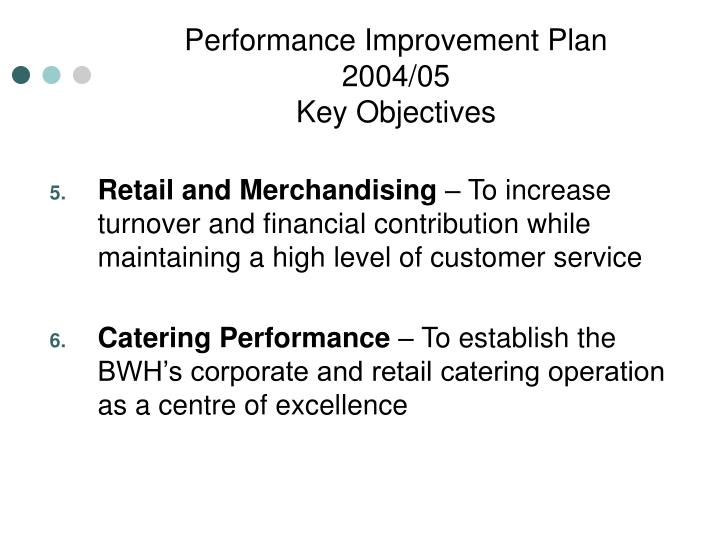 Performance Improvement Plan 2004/05