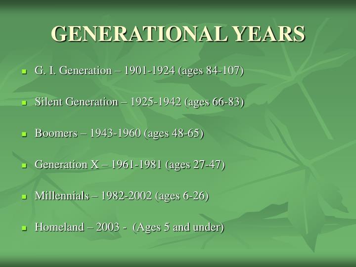 GENERATIONAL YEARS