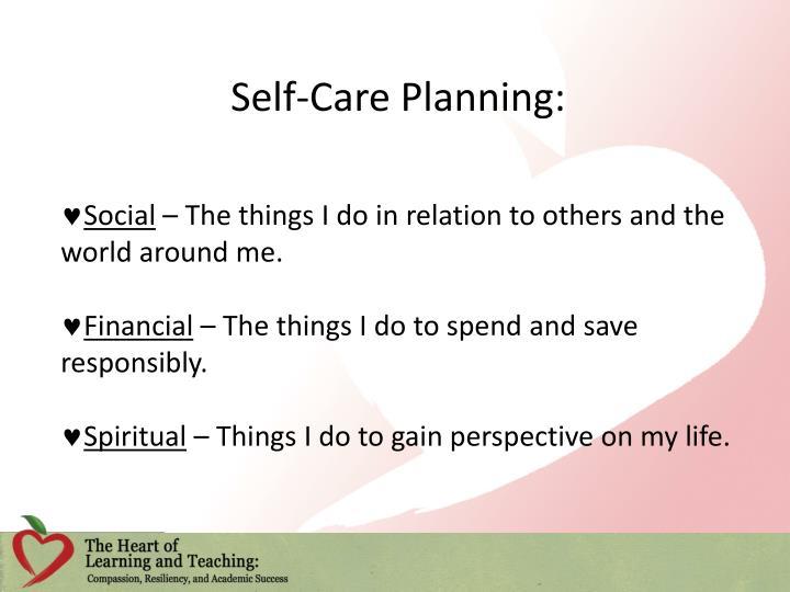 Self-Care Planning: