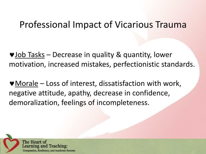 Professional Impact of Vicarious Trauma