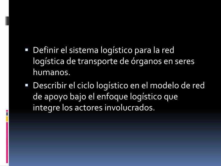 Definir el sistema logístico para la red logística de transporte de órganos en seres humanos.