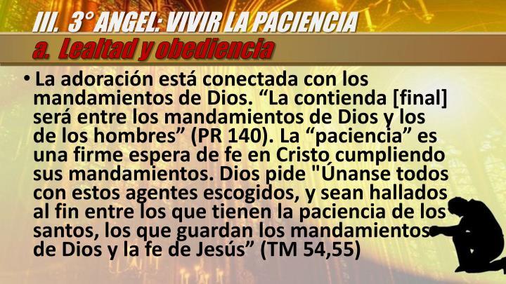 III.  3° ANGEL: VIVIR LA PACIENCIA