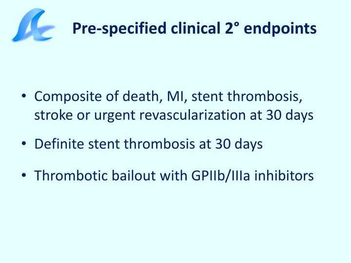 Pre-specified clinical 2° endpoints