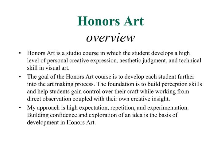 Honors art overview